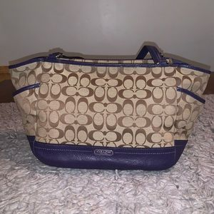 Coach tan and purple large tote